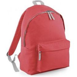 BagBase Backpack Rugzak - 18 l - Coral/Light Grey