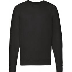 Zwarte sweater / sweatshirt trui met raglan mouwen en ronde hals voor heren - zwart - basic sweaters S (EU 48)